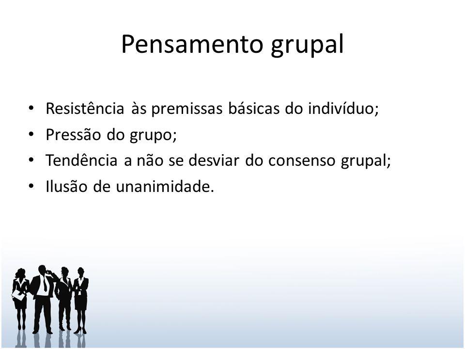 Pensamento grupal Resistência às premissas básicas do indivíduo;
