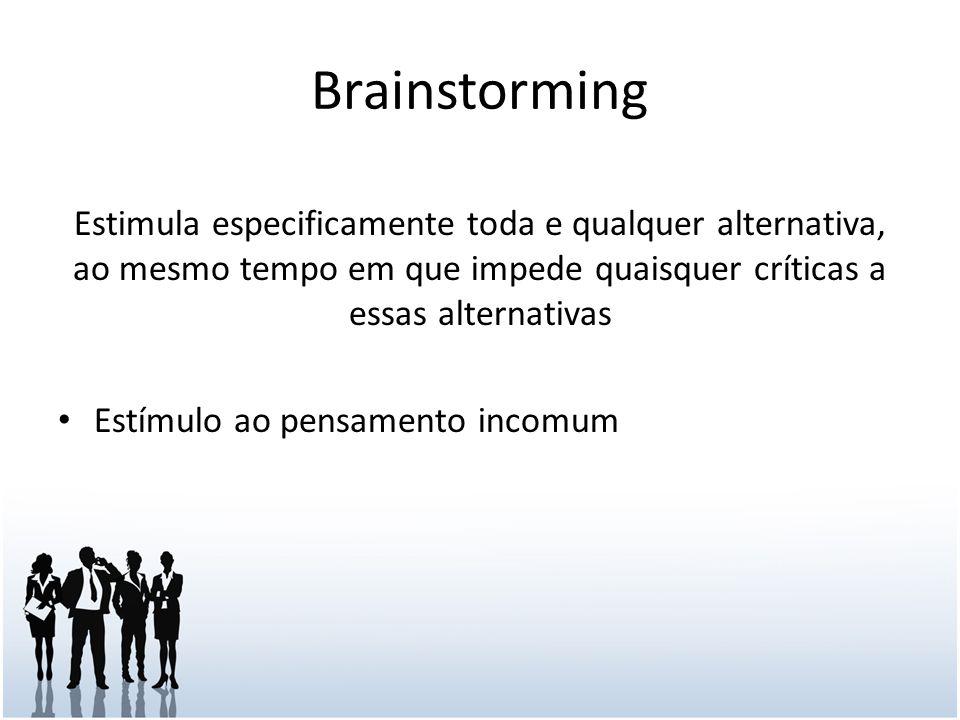 Brainstorming Estimula especificamente toda e qualquer alternativa, ao mesmo tempo em que impede quaisquer críticas a essas alternativas.