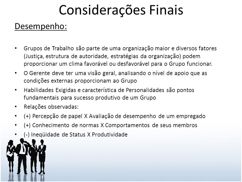Considerações Finais Desempenho: