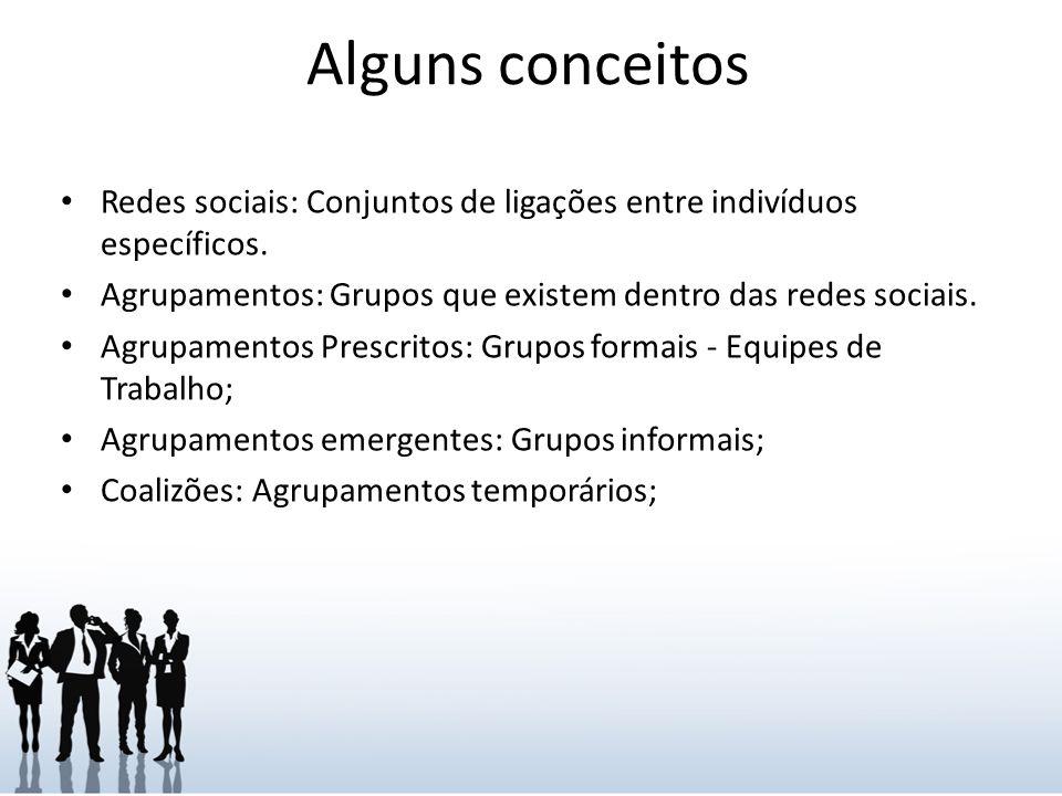 Alguns conceitos Redes sociais: Conjuntos de ligações entre indivíduos específicos. Agrupamentos: Grupos que existem dentro das redes sociais.
