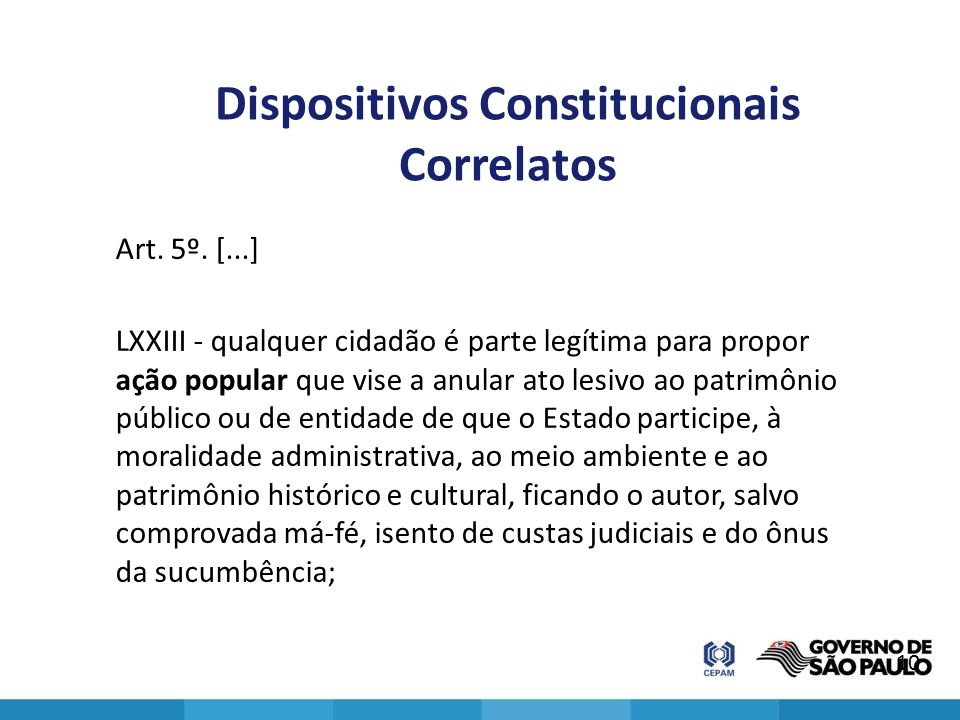 Dispositivos Constitucionais Correlatos