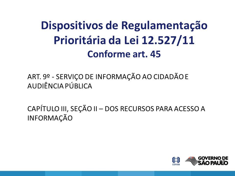 Dispositivos de Regulamentação Prioritária da Lei 12