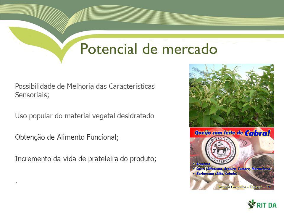 Potencial de mercado Possibilidade de Melhoria das Características Sensoriais; Uso popular do material vegetal desidratado.