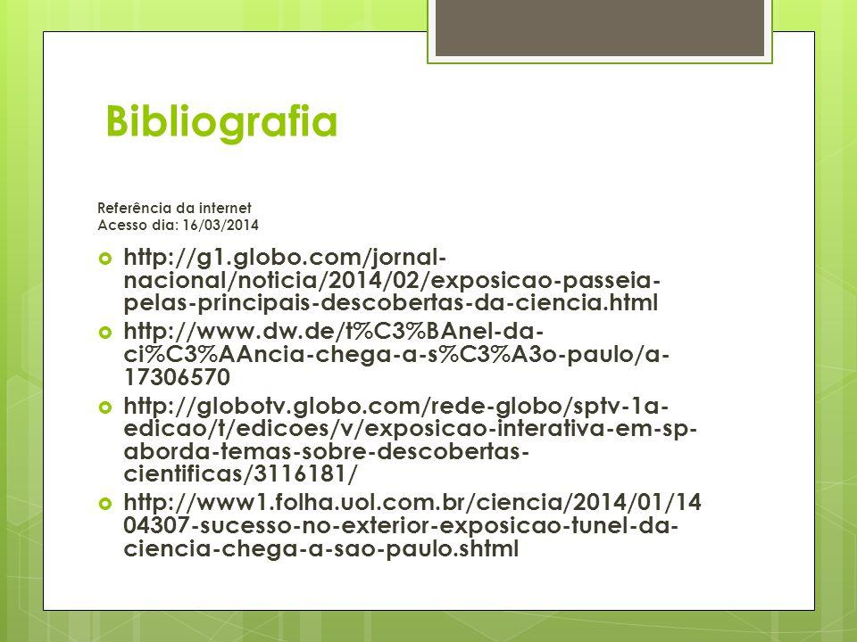 Bibliografia Referência da internet Acesso dia: 16/03/2014 http://g1