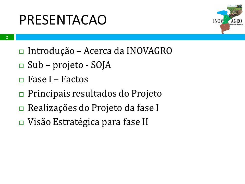 PRESENTACAO Introdução – Acerca da INOVAGRO Sub – projeto - SOJA