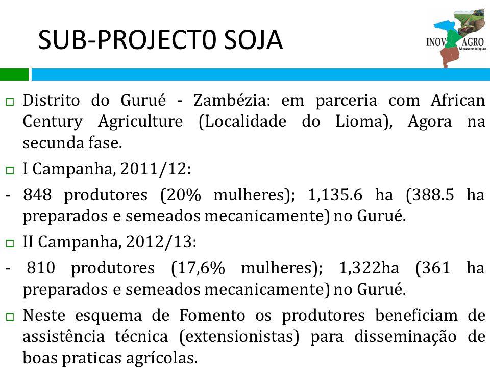 SUB-PROJECT0 SOJA Distrito do Gurué - Zambézia: em parceria com African Century Agriculture (Localidade do Lioma), Agora na secunda fase.