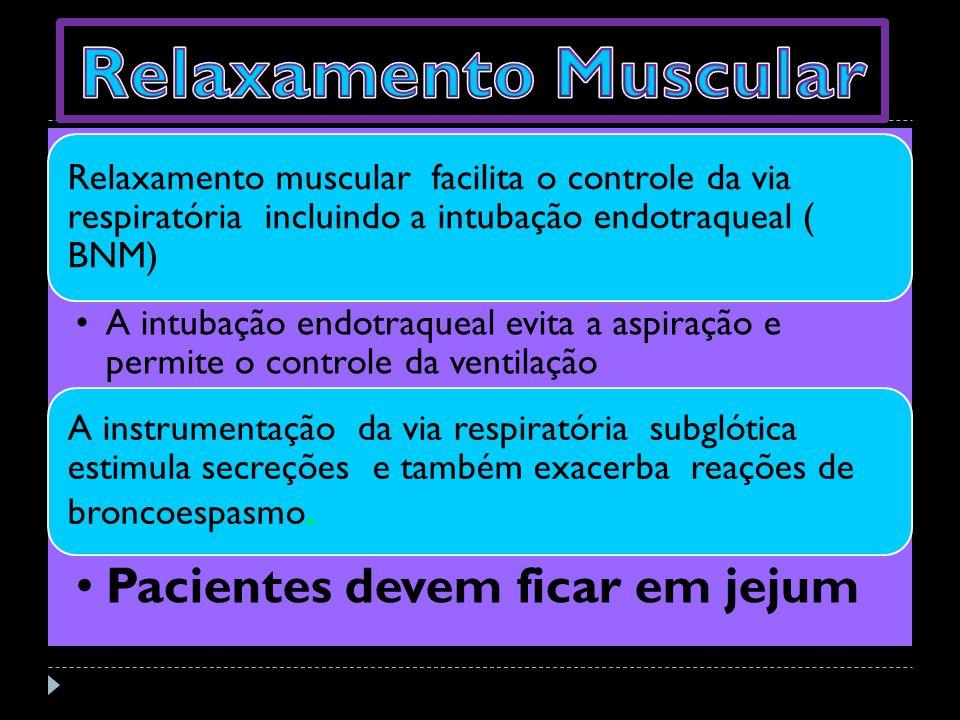 Relaxamento Muscular Relaxamento muscular facilita o controle da via respiratória incluindo a intubação endotraqueal ( BNM)