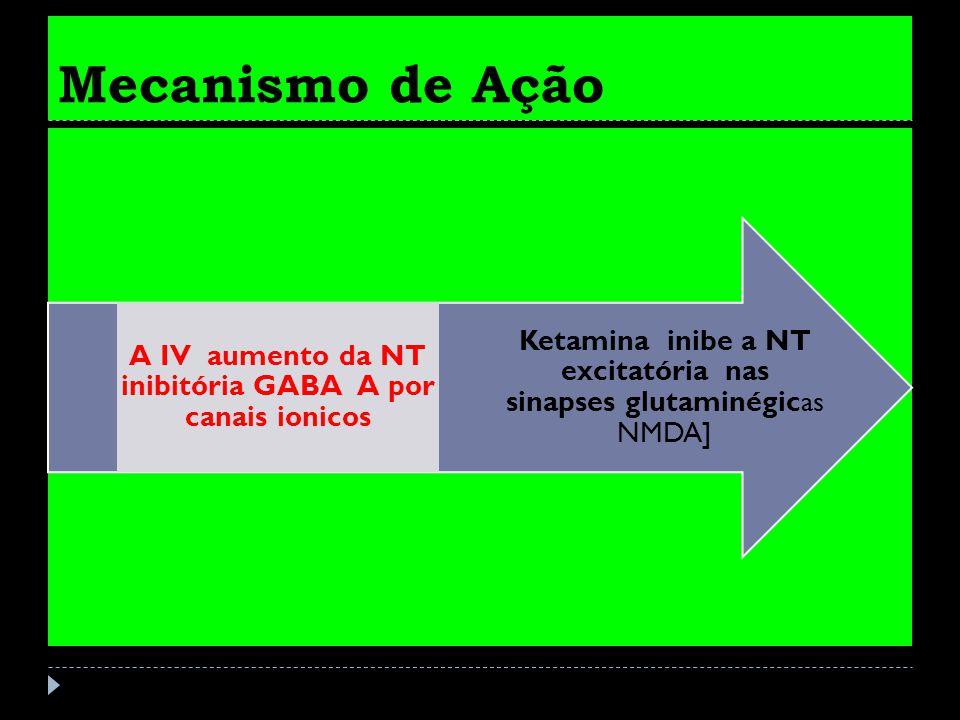 A IV aumento da NT inibitória GABA A por canais ionicos