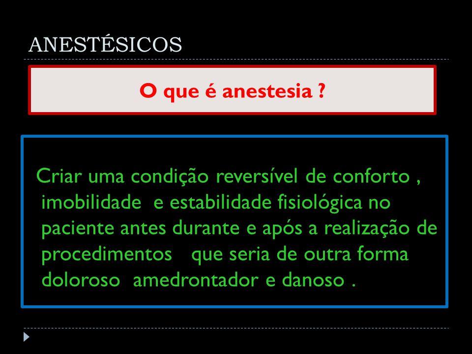 ANESTÉSICOS O que é anestesia
