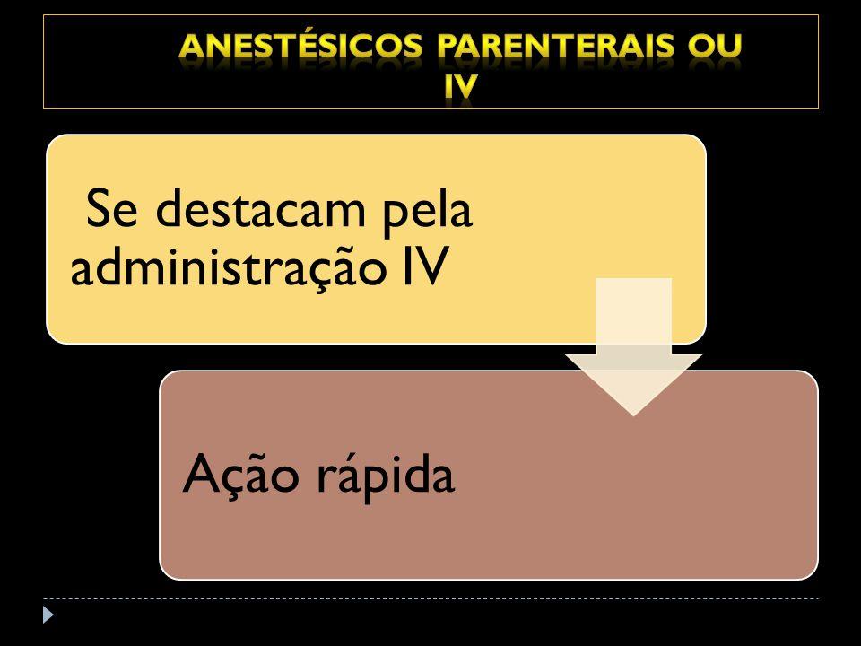 Anestésicos parenterais ou