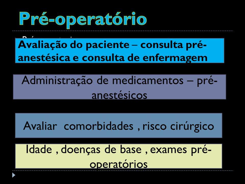 Pré-operatório Administração de medicamentos – pré-anestésicos