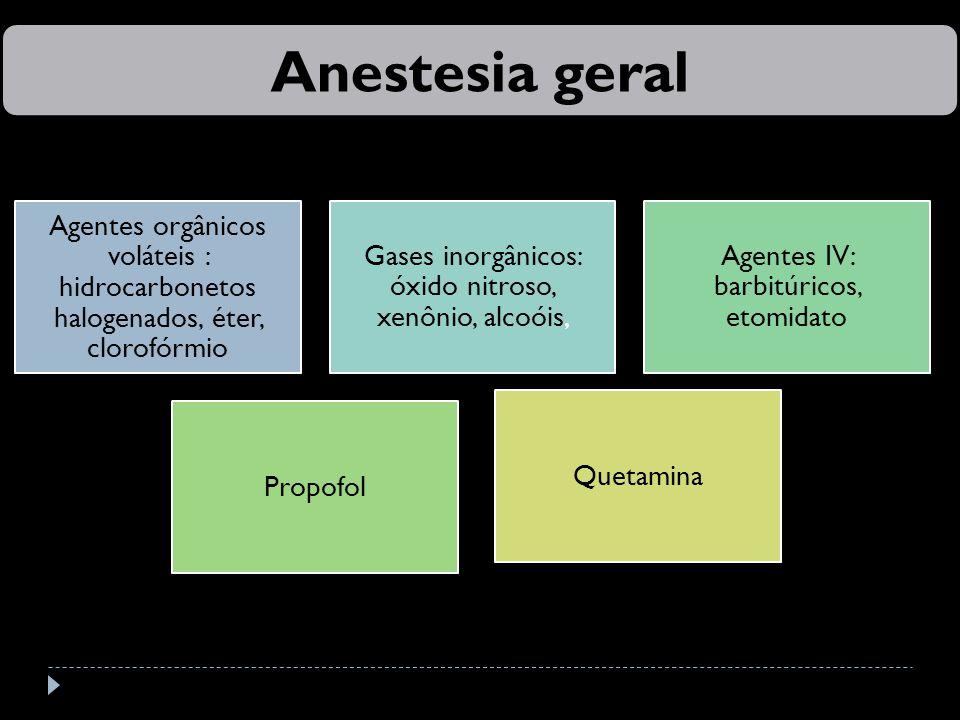 Anestesia geral Agentes orgânicos voláteis : hidrocarbonetos halogenados, éter, clorofórmio. Gases inorgânicos: óxido nitroso, xenônio, alcoóis,