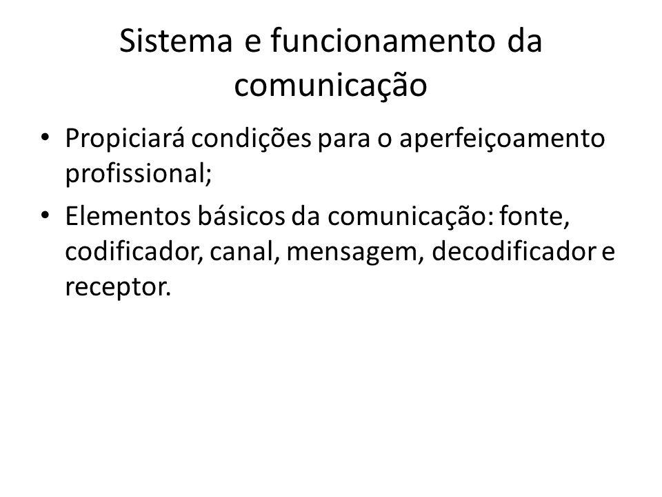 Sistema e funcionamento da comunicação