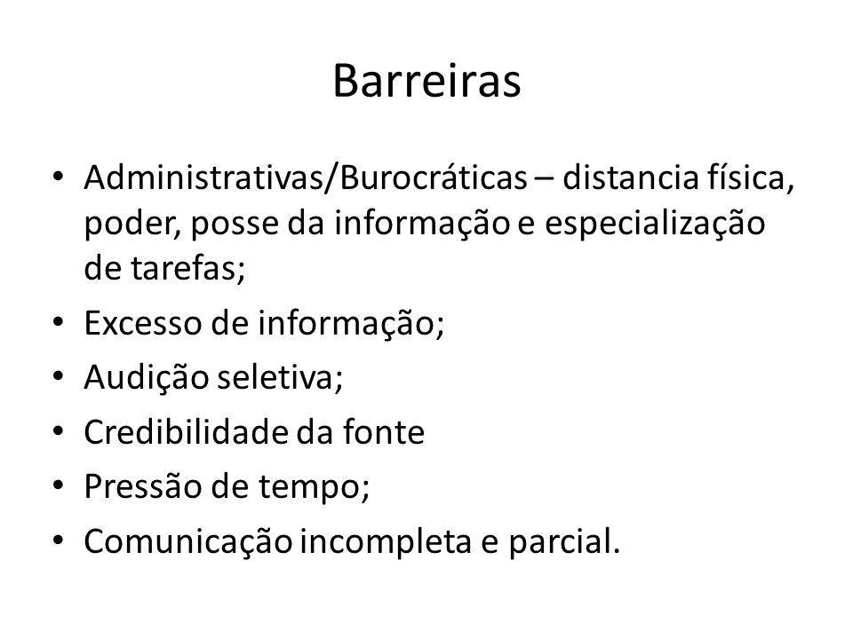 Barreiras Administrativas/Burocráticas – distancia física, poder, posse da informação e especialização de tarefas;