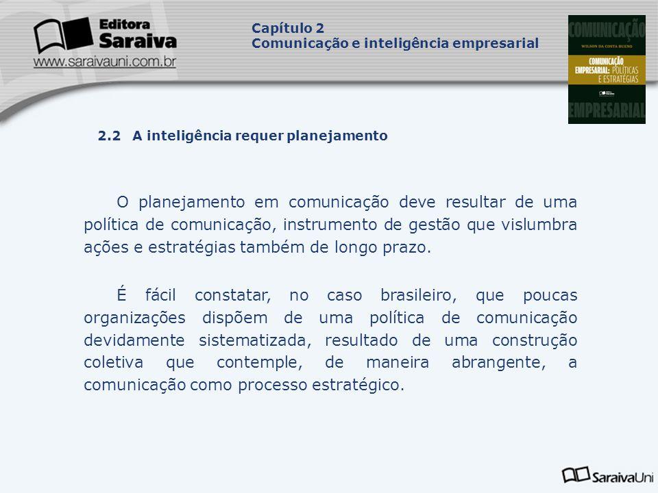 Capítulo 2 Comunicação e inteligência empresarial. Capa. da Obra. 2.2 A inteligência requer planejamento.