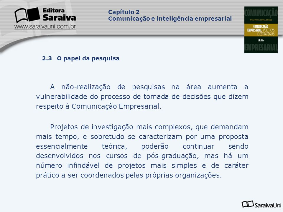 Capítulo 2 Comunicação e inteligência empresarial. Capa. da Obra. 2.3 O papel da pesquisa.