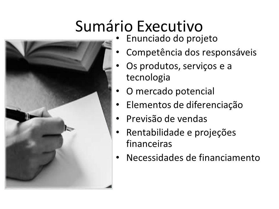 Sumário Executivo Enunciado do projeto Competência dos responsáveis