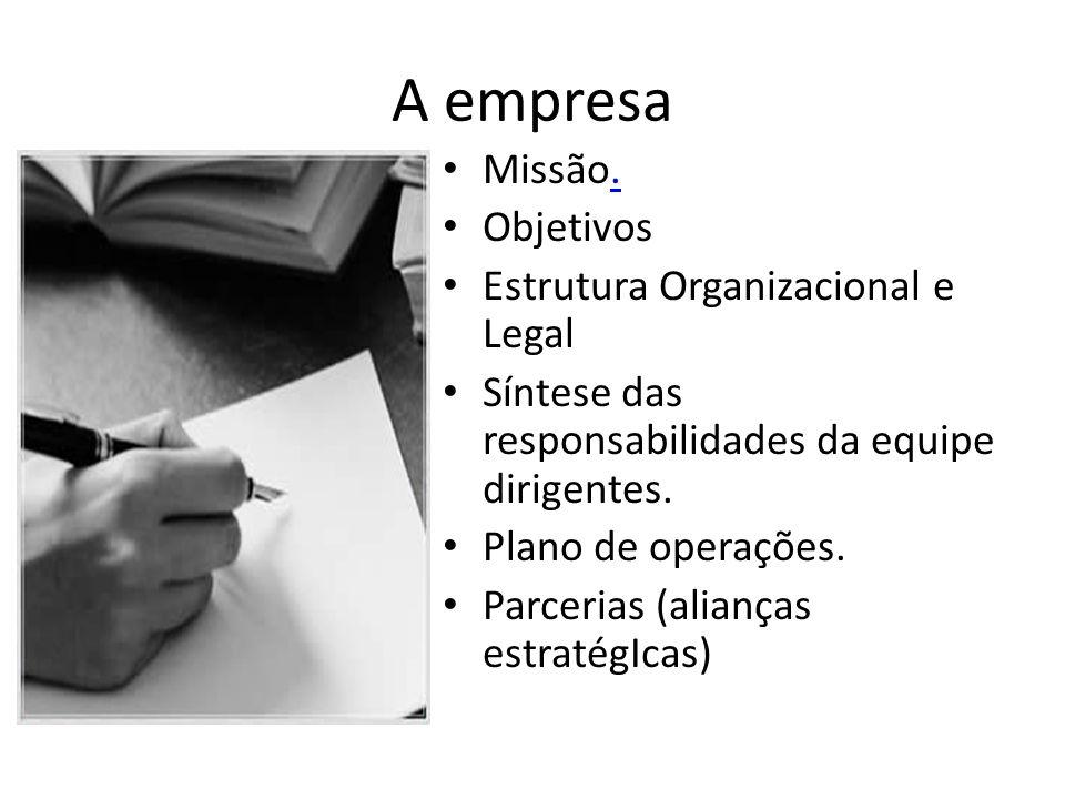 A empresa Missão. Objetivos Estrutura Organizacional e Legal