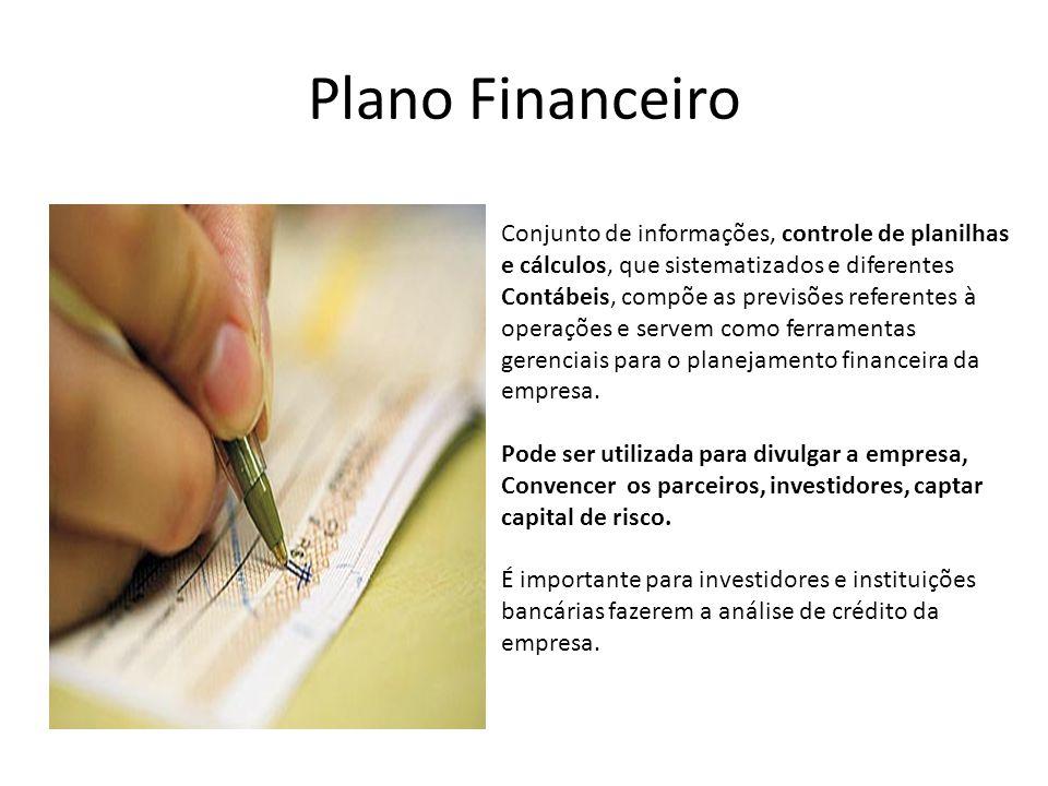 Plano Financeiro Conjunto de informações, controle de planilhas