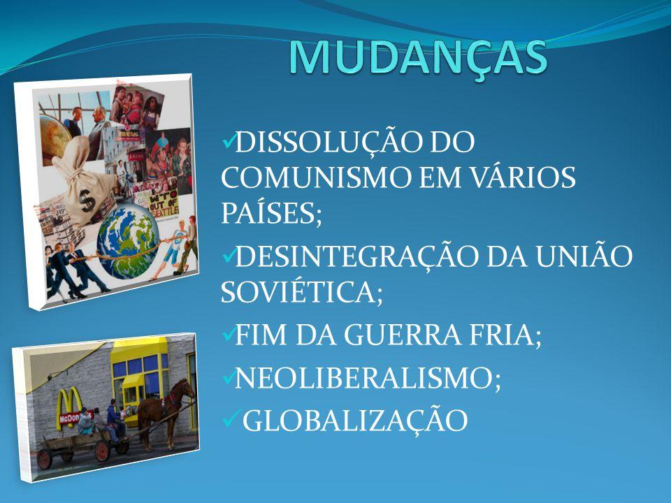 MUDANÇAS DISSOLUÇÃO DO COMUNISMO EM VÁRIOS PAÍSES;