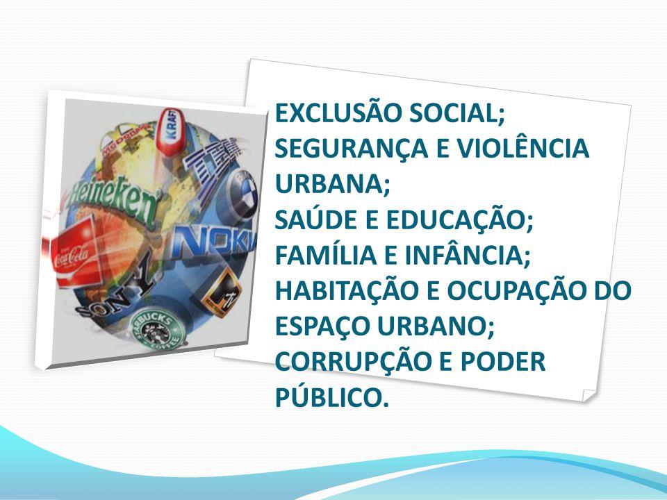 EXCLUSÃO SOCIAL; SEGURANÇA E VIOLÊNCIA URBANA; SAÚDE E EDUCAÇÃO; FAMÍLIA E INFÂNCIA; HABITAÇÃO E OCUPAÇÃO DO ESPAÇO URBANO; CORRUPÇÃO E PODER PÚBLICO.