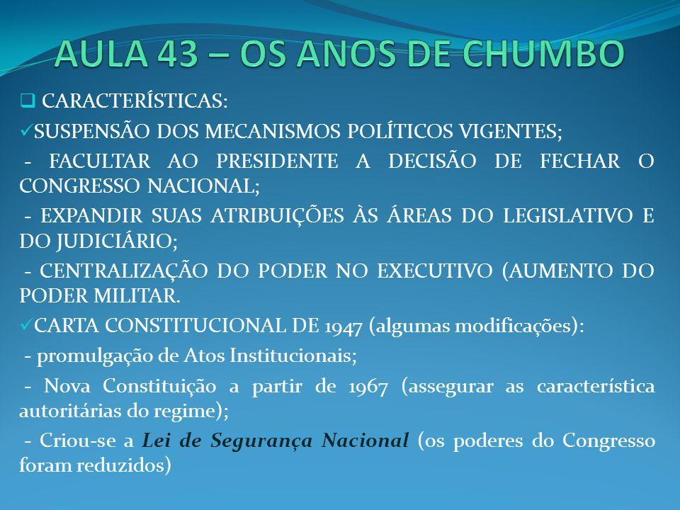 AULA 43 – OS ANOS DE CHUMBO CARACTERÍSTICAS: