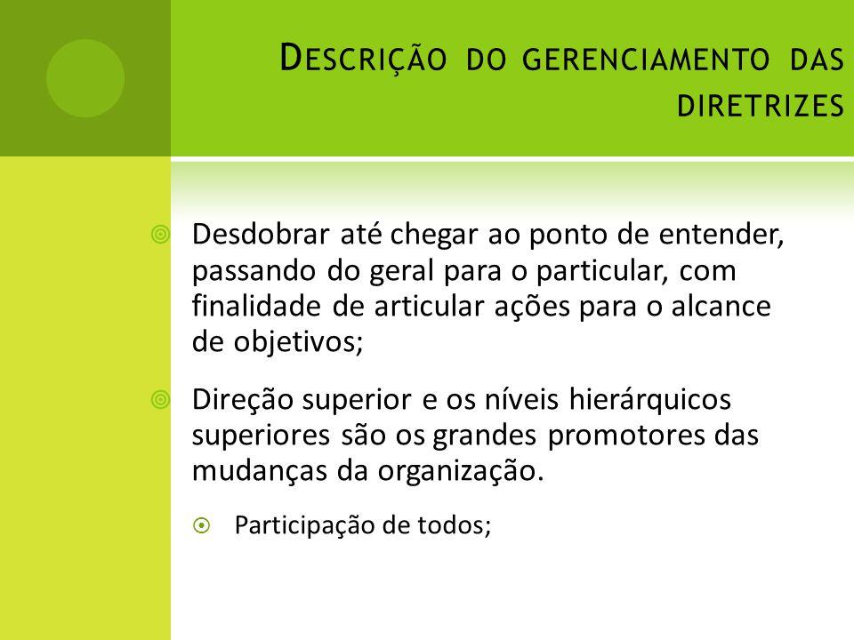 Descrição do gerenciamento das diretrizes