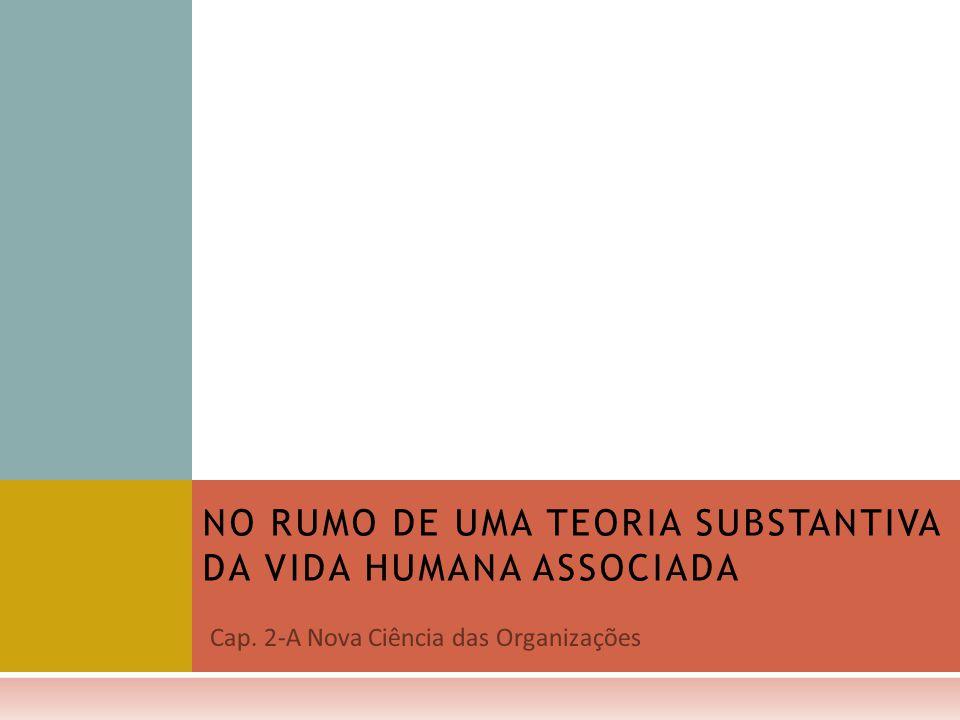 NO RUMO DE UMA TEORIA SUBSTANTIVA DA VIDA HUMANA ASSOCIADA