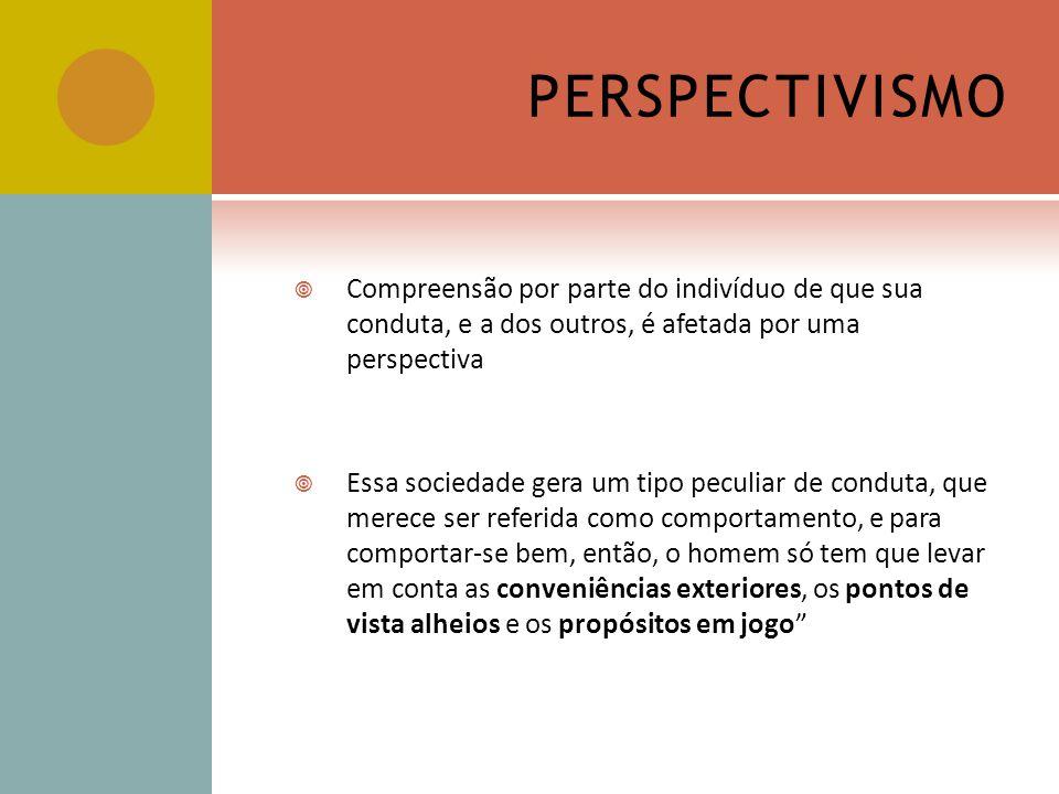 PERSPECTIVISMO Compreensão por parte do indivíduo de que sua conduta, e a dos outros, é afetada por uma perspectiva.