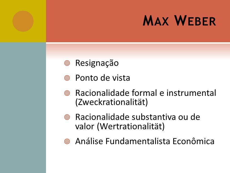 Max Weber Resignação Ponto de vista