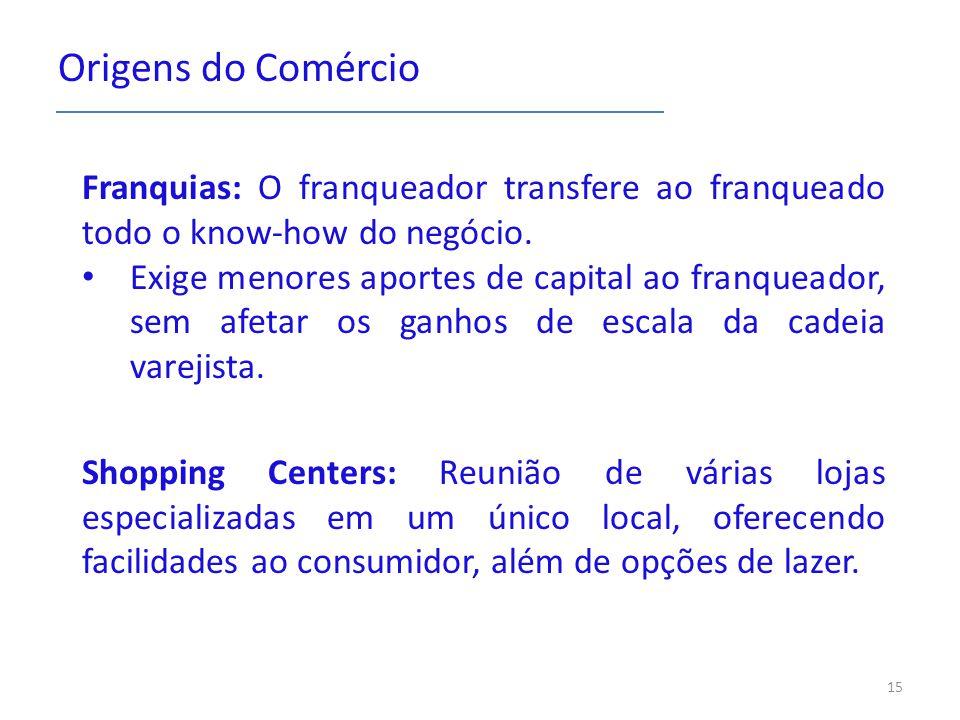 Origens do Comércio Franquias: O franqueador transfere ao franqueado todo o know-how do negócio.
