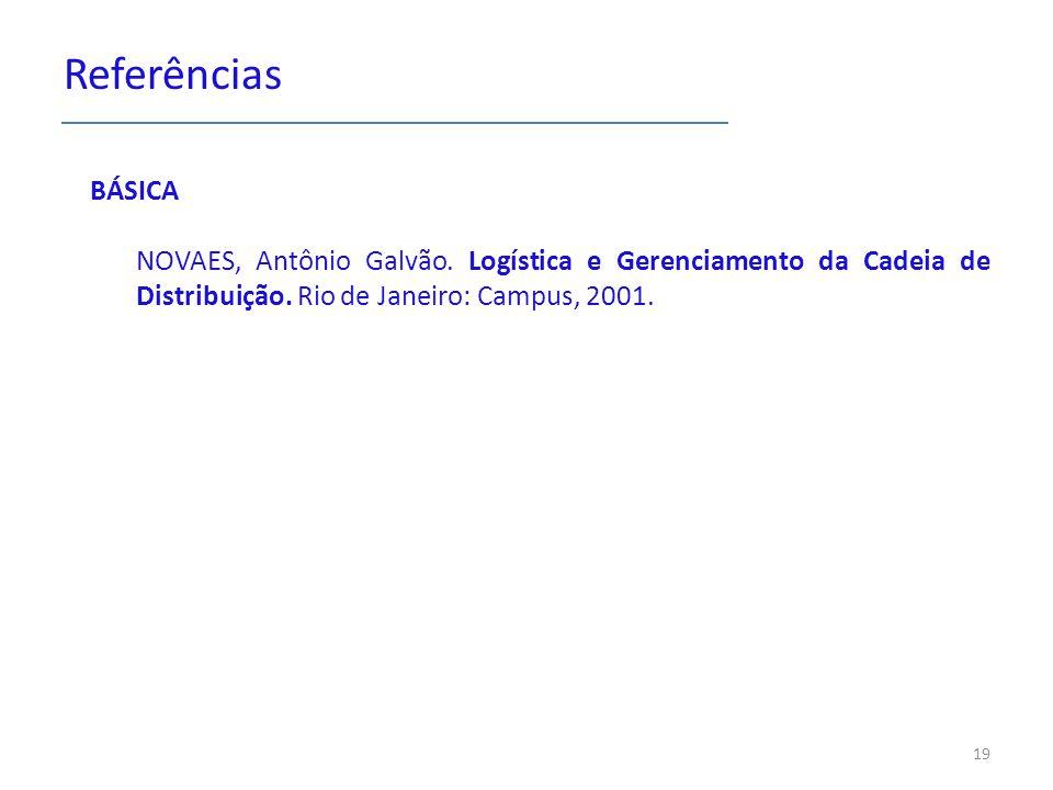 Referências BÁSICA. NOVAES, Antônio Galvão. Logística e Gerenciamento da Cadeia de Distribuição.
