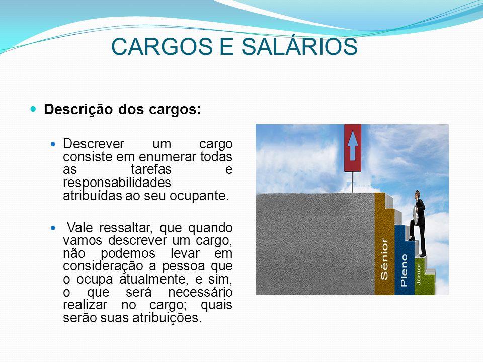 CARGOS E SALÁRIOS Descrição dos cargos: