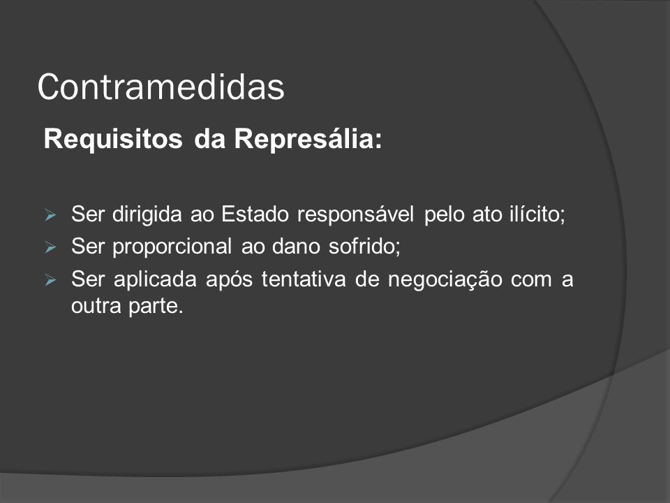 Contramedidas Requisitos da Represália:
