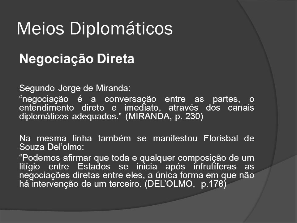 Meios Diplomáticos Negociação Direta Segundo Jorge de Miranda: