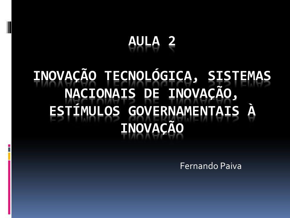Aula 2 Inovação Tecnológica, Sistemas Nacionais de Inovação, Estímulos Governamentais à Inovação