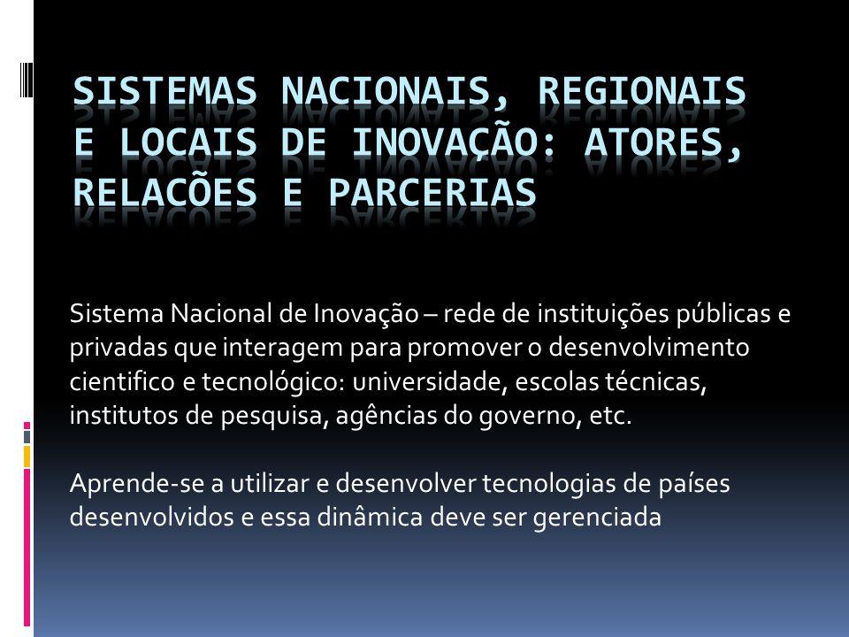 Sistemas nacionais, regionais e locais de inovação: atores, relacões e parcerias