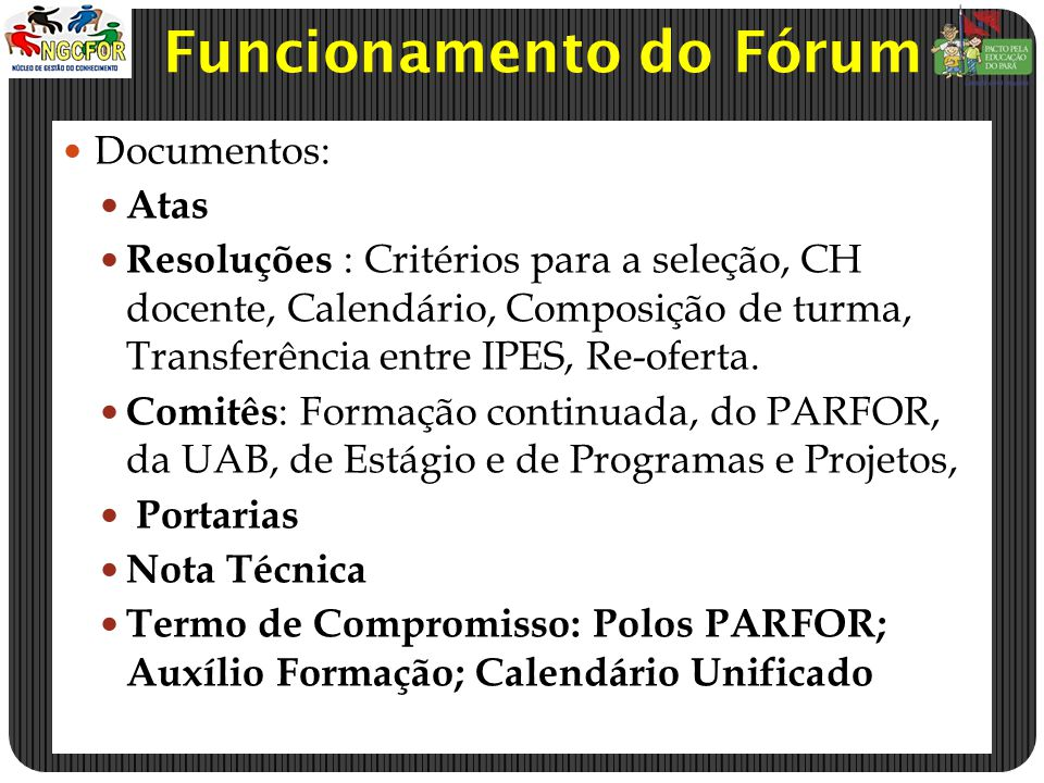 Funcionamento do Fórum