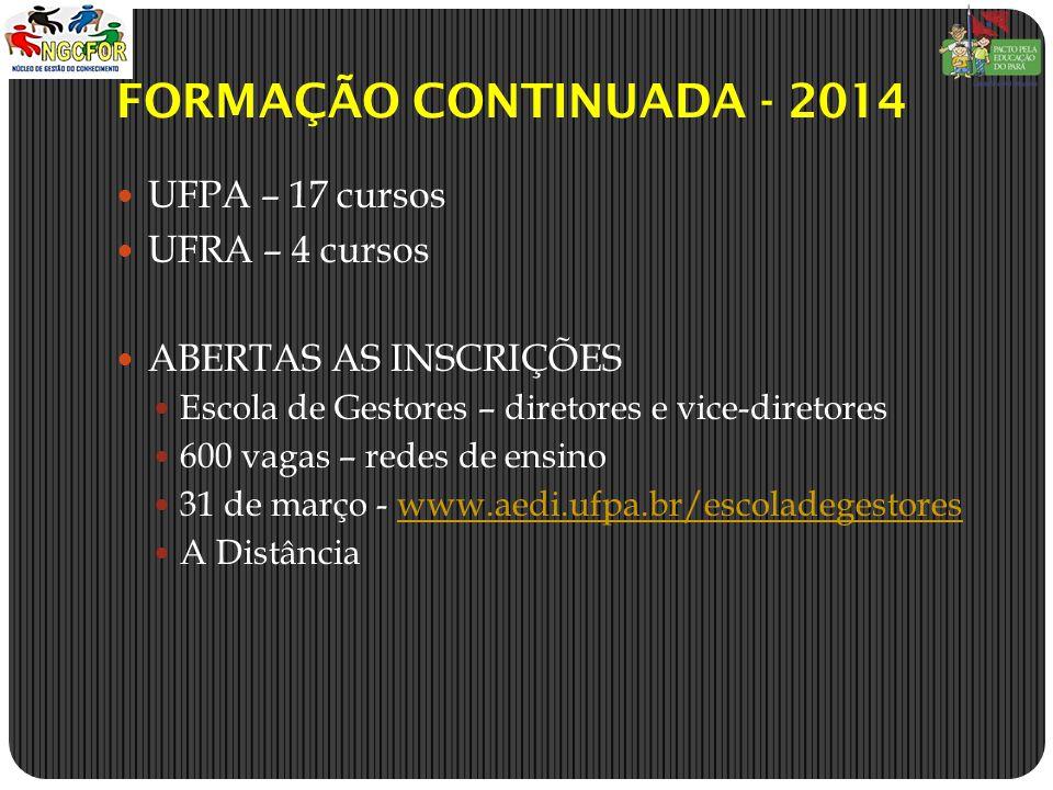 FORMAÇÃO CONTINUADA - 2014 UFPA – 17 cursos UFRA – 4 cursos