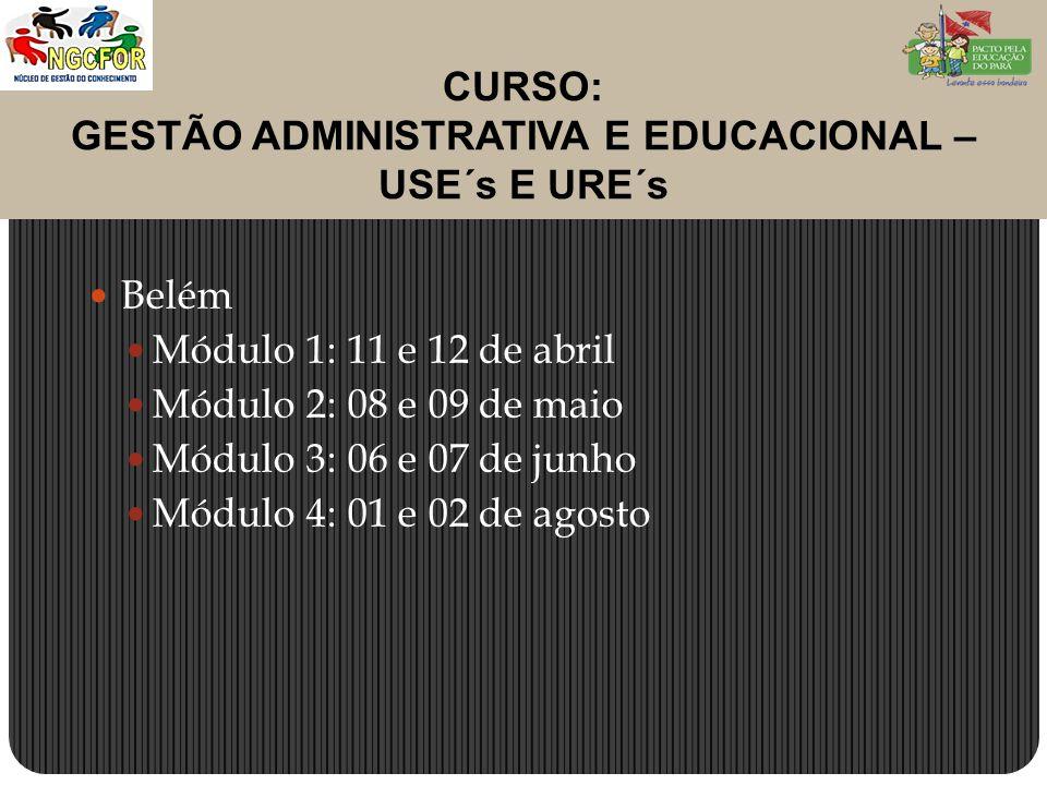 CURSO: GESTÃO ADMINISTRATIVA E EDUCACIONAL – USE´s E URE´s