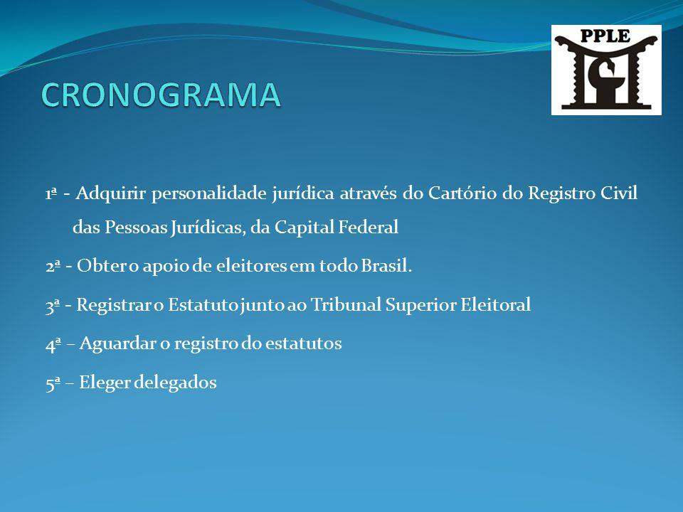 CRONOGRAMA 1ª - Adquirir personalidade jurídica através do Cartório do Registro Civil das Pessoas Jurídicas, da Capital Federal.