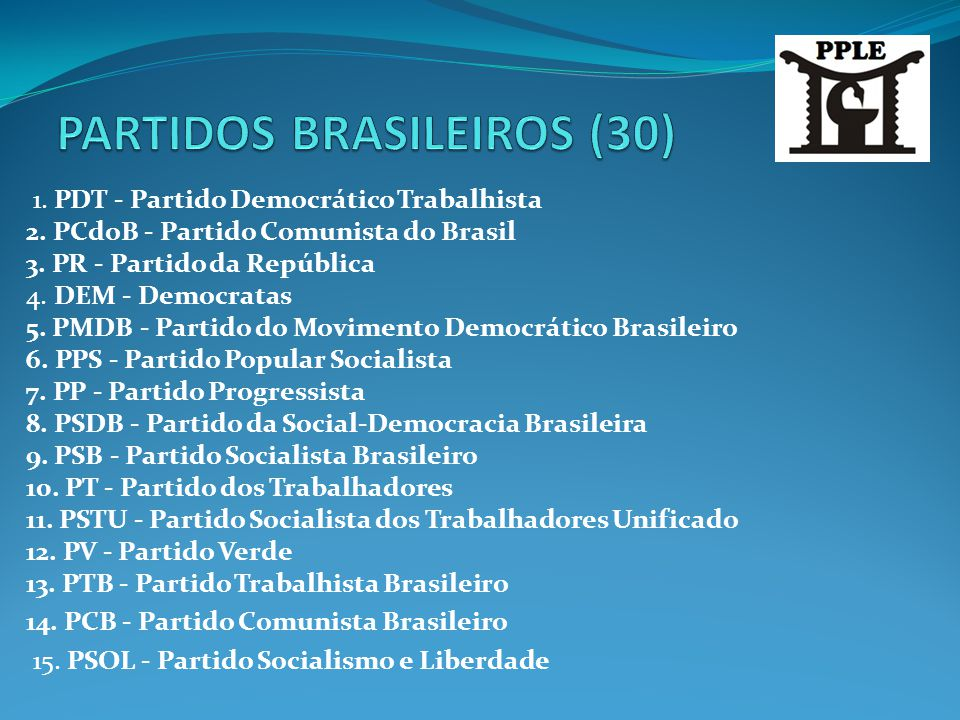 PARTIDOS BRASILEIROS (30)
