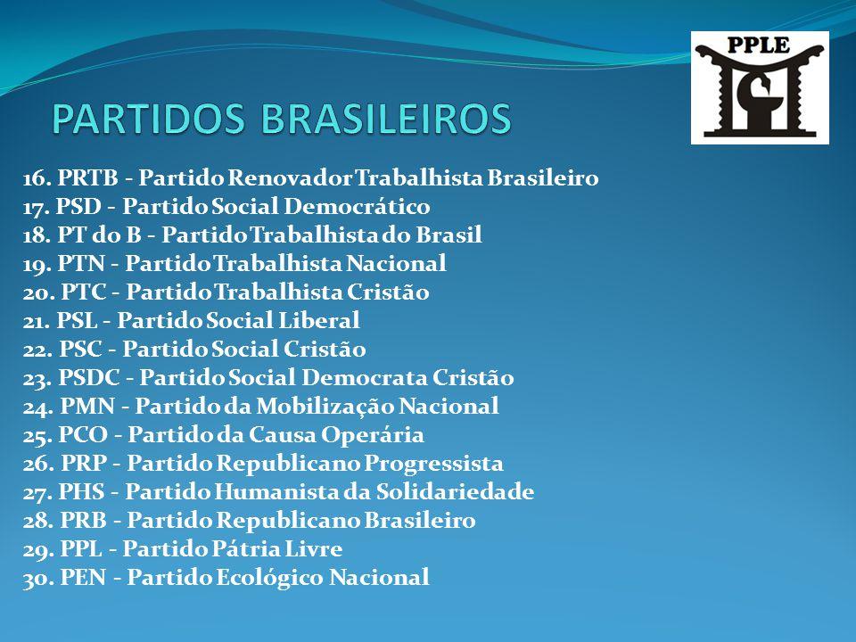PARTIDOS BRASILEIROS 16. PRTB - Partido Renovador Trabalhista Brasileiro. 17. PSD - Partido Social Democrático.