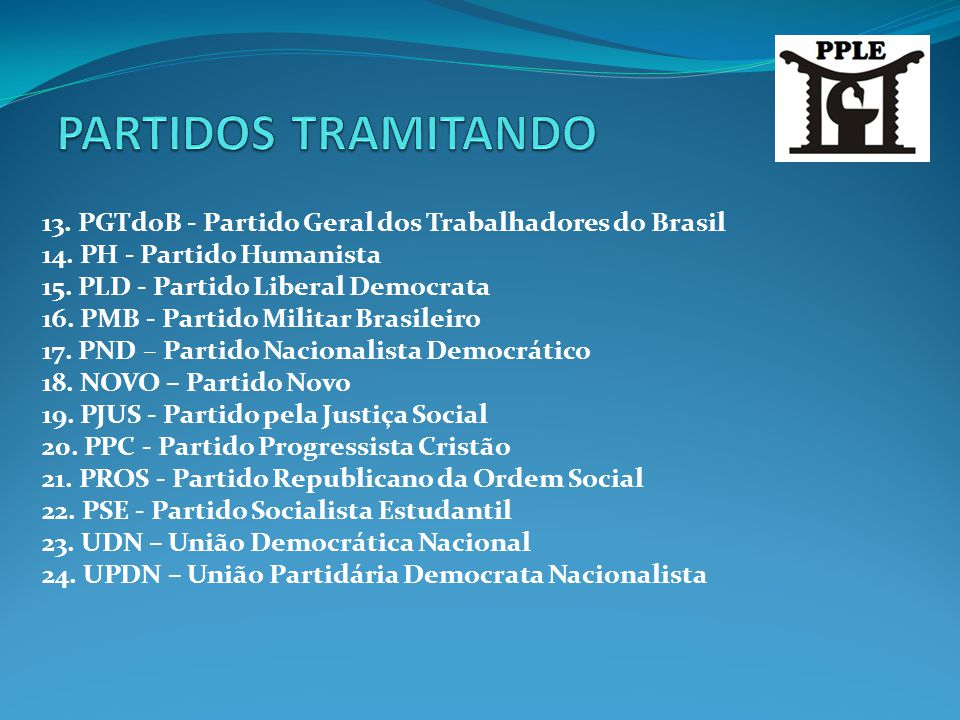 PARTIDOS TRAMITANDO 13. PGTdoB - Partido Geral dos Trabalhadores do Brasil. 14. PH - Partido Humanista.
