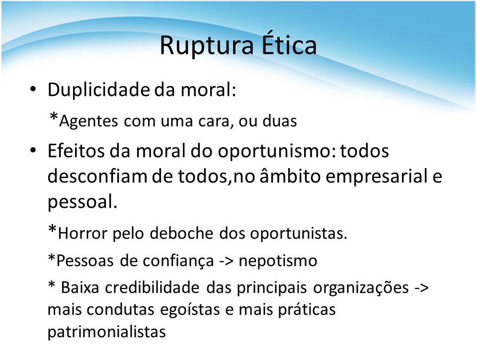 Ruptura Ética Duplicidade da moral: *Agentes com uma cara, ou duas