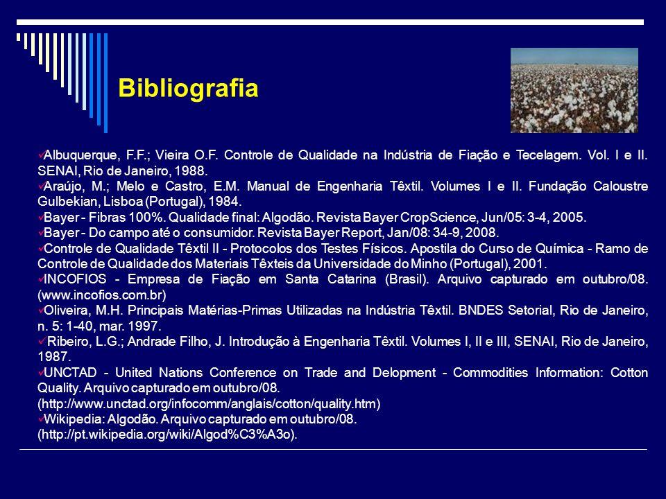 Bibliografia Albuquerque, F.F.; Vieira O.F. Controle de Qualidade na Indústria de Fiação e Tecelagem. Vol. I e II. SENAI, Rio de Janeiro, 1988.