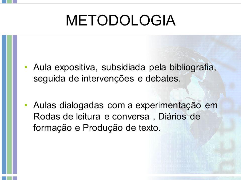 METODOLOGIA Aula expositiva, subsidiada pela bibliografia, seguida de intervenções e debates.