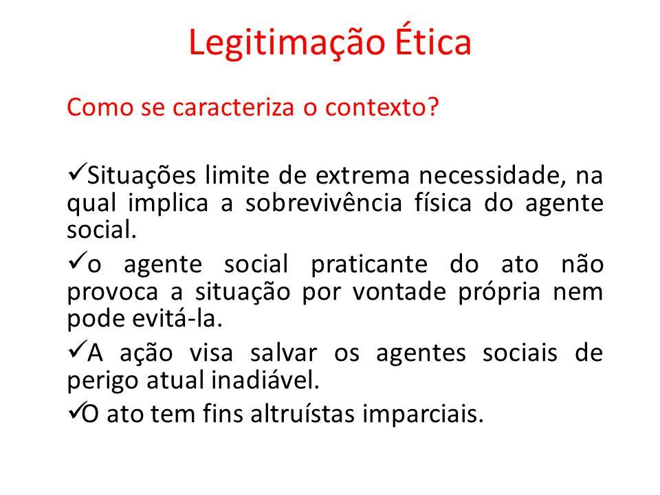 Legitimação Ética Como se caracteriza o contexto