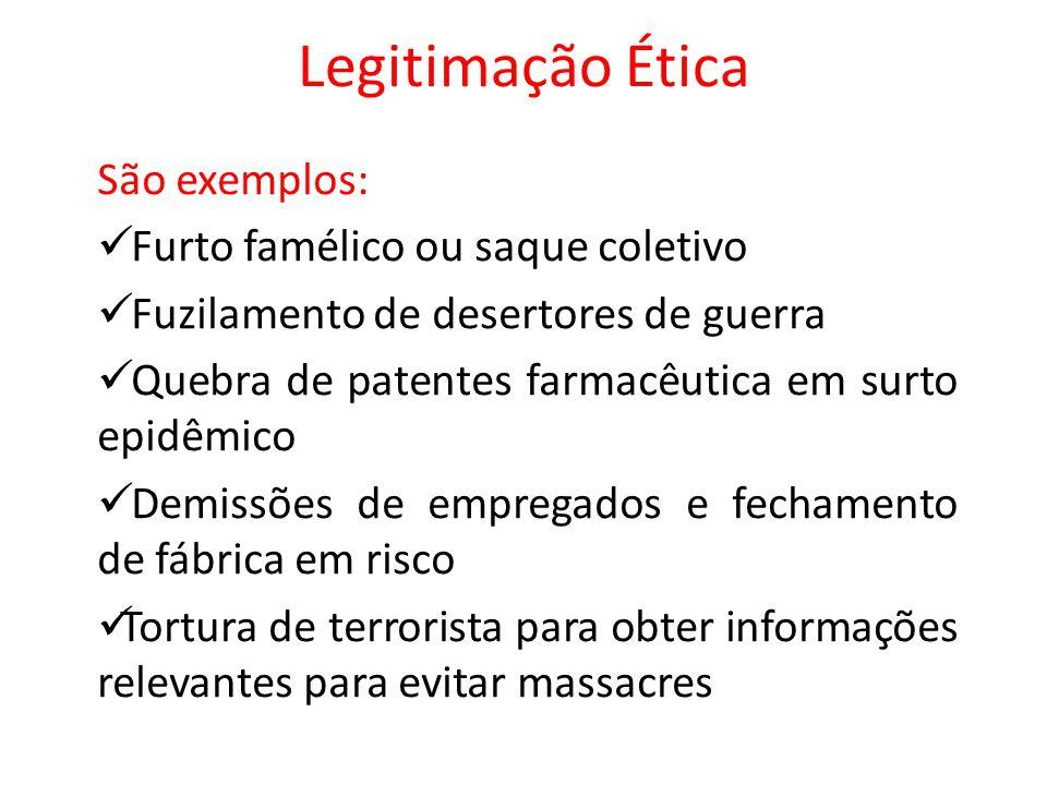 Legitimação Ética São exemplos: Furto famélico ou saque coletivo