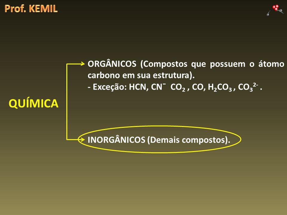 Prof. KEMIL ORGÂNICOS (Compostos que possuem o átomo carbono em sua estrutura). - Exceção: HCN, CN¯ CO2 , CO, H2CO3 , CO32- .